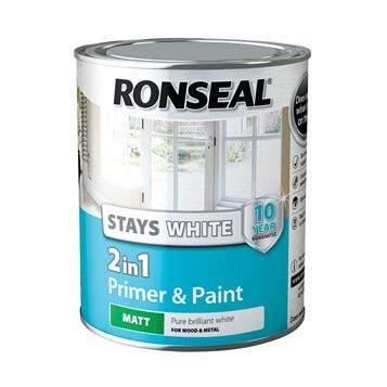 Ronseal Stays White 2In1 Trim Paint & Primer White, 750ml