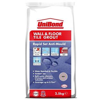 Unibond Rapid Set Flexible Grey Wall & Floor Tile Grout (W)2.5kg