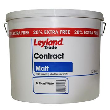 Leyland Trade Contract White Matt Emulsion Paint 12L