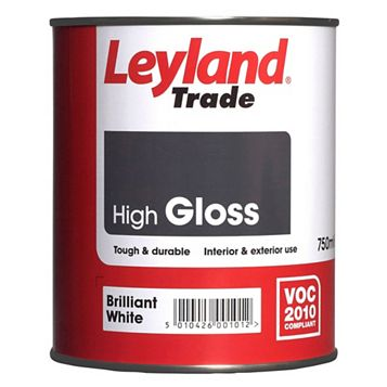 Leyland Trade Interior & Exterior Brilliant White Gloss Wood & Metal Paint 0.75L