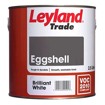 Leyland Trade Interior Brilliant White Eggshell Paint 2.5L Tin