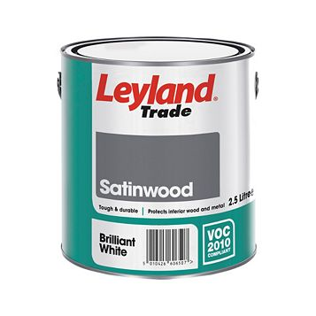 Leyland Trade Interior White Satinwood Wood & Metal Paint 2.5L Tin