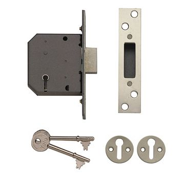 Yale 64mm Polished Chrome 5 Lever Mortice Deadlock