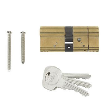 Yale 70mm Brass Plated Euro Cylinder Lock
