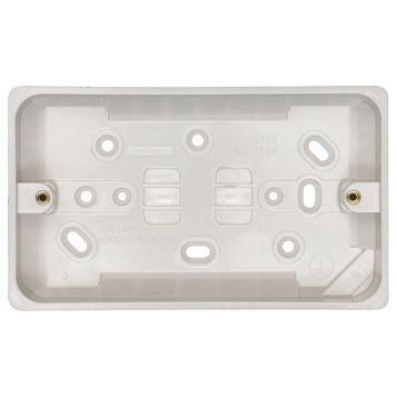 Crabtree White Plastic Double Pattress Box 29 mm