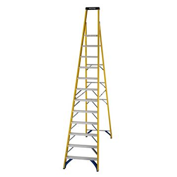 Werner 12 Tread Fibreglass Platform Stepladder, 3410mm