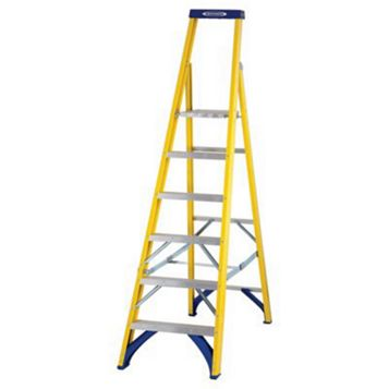 Werner 6 Tread Fibreglass Platform Stepladder, 2020mm