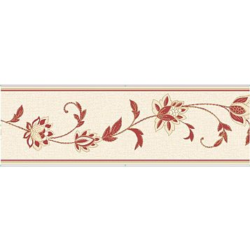 Annabell Cream & Red Floral Border