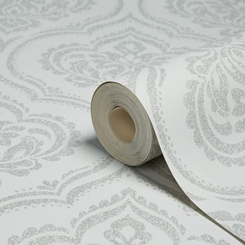 Sparkle Soft Grey Ornamental Damask Glitter Effect Wallpaper