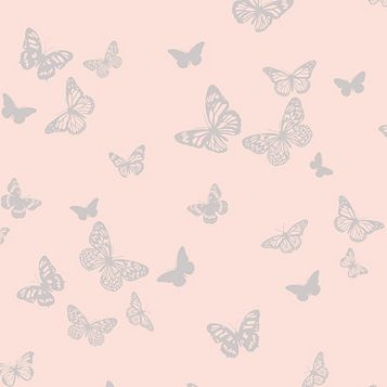 Sparkle Pink Butterfly Glitter Effect Wallpaper