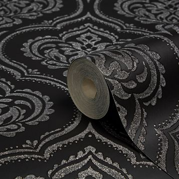 Ornamental Damask Black Glitter Effect Wallpaper