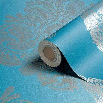 Cote Coutre Blue Damask Wallpaper