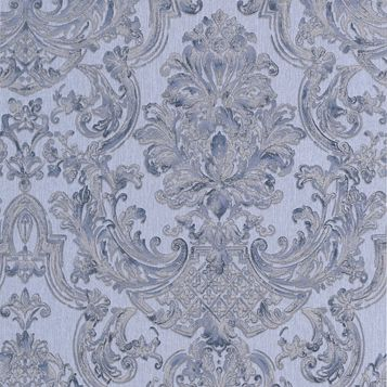 Montague Blue Damask Wallpaper