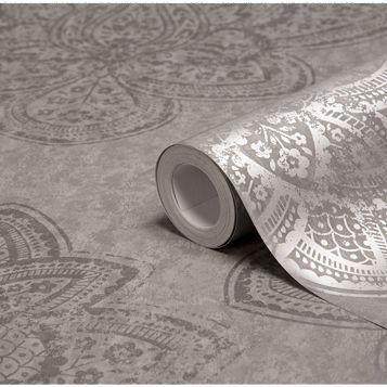 Treasure Marcasite Damask Metallic Wallpaper