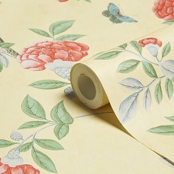 Chinoiserie Imperial Yellow Floral Wallpaper