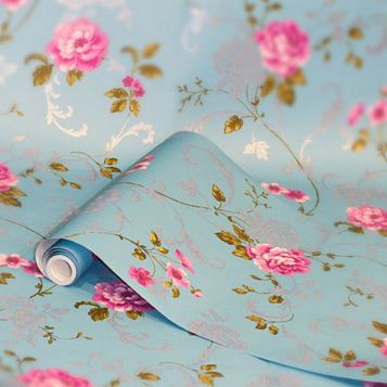 Northern Rose Blue & Pink Floral Wallpaper