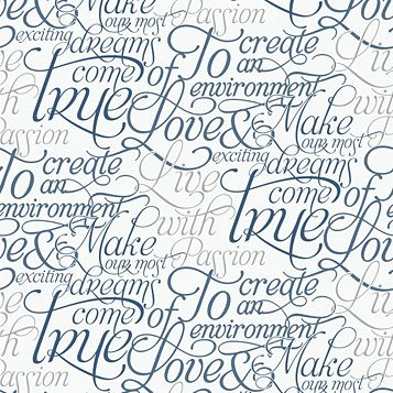 Marcel Wanders Blue & White Text Wallpaper