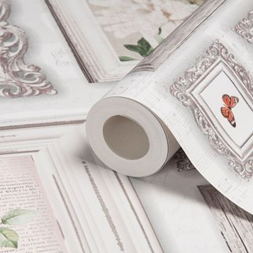 Graham & Brown Fresco White Butterfly Frames Wallpaper