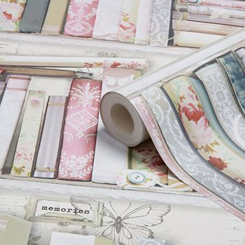 Fresco Pink Collage Bookcase Wallpaper