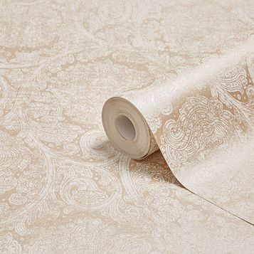 Fibrous Blenheim Rose Gold Paisley Damask Metallic Wallpaper
