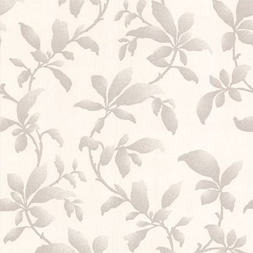 Sarra Silver Leaves Silver Effect Wallpaper