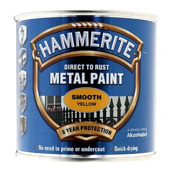 Hammerite Metal Paint Yellow, 250ml