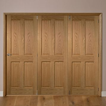 Elveden Oak Veneer Internal Folding Door RH, (H)2035mm (W)2146mm