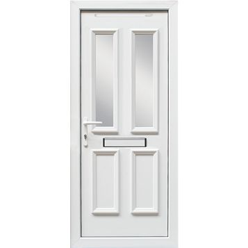 4 Panel PVCu Glazed External Front Door & Frame Rh, (H)2055mm (W)920mm