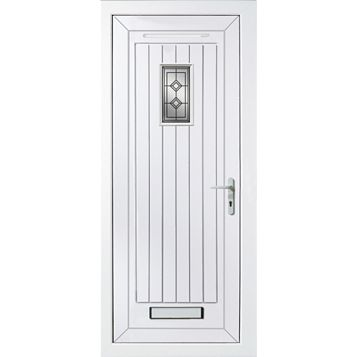 Cottage Panelled PVCu Glazed External Front Door & Frame Lh, (H)2055mm (W)920mm
