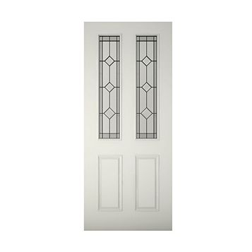 4 Panel Primed Glazed Front Door & Frame, (H)2074mm (W)932mm