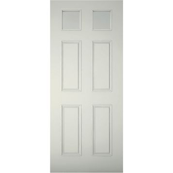 6 Panel Primed Clear Pine Veneer Timber Glazed External Front Door & Frame, (H)2074mm (W)932mm