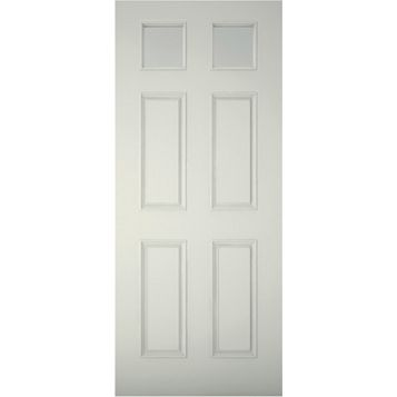 6 Panel Primed Clear Pine Veneer Timber Glazed External Front Door & Frame with Letterplate, (H)2074mm (W)856mm