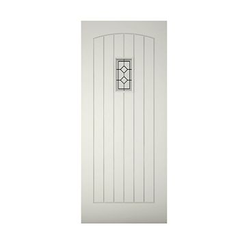 Cottage Panelled Primed Glazed Front Door & Frame, (H)2125mm (W)907mm