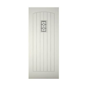Cottage Panelled Primed Clear Pine Veneer Timber Glazed External Front Door & Frame with Letterplate, (H)2074mm (W)932mm