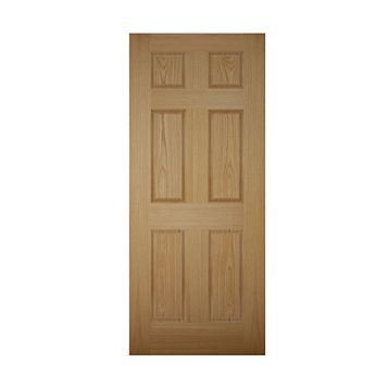 6 Panel White Oak Veneer Front Door & Frame with Letter Plate, (H)2074mm (W)856mm