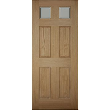 6 Panel White Oak Veneer Timber Glazed External Front Door & Frame, (H)2074mm (W)932mm