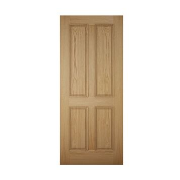 4 Panel White Oak Veneer Timber External Front Door & Frame with Letterplate, (H)2074mm (W)856mm