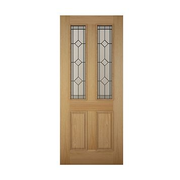 4 Panel White Oak Veneer Timber Glazed External Front Door & Frame, (H)2125mm (W)907mm