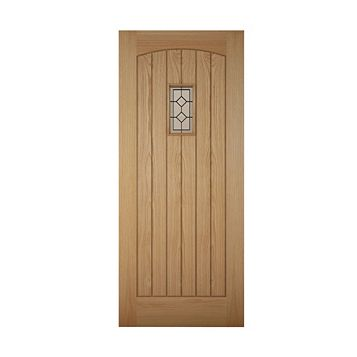 Cottage Panelled White Oak Veneer Front Door & Frame with Letter Plate, (H)2074mm (W)856mm