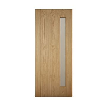 Contemporary Grooved Panel White Oak Veneer Timber Glazed External Front Door & Frame, (H)2074mm (W)932mm