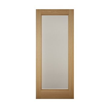 1 Panel Shaker White Oak Veneer Glazed Front Door & Frame, (H)2074mm (W)856mm