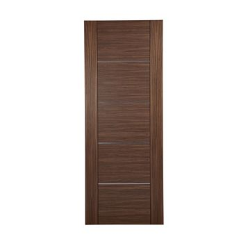 Flush 5 Panel Walnut Veneer Internal Door, (H)1981mm (W)686mm