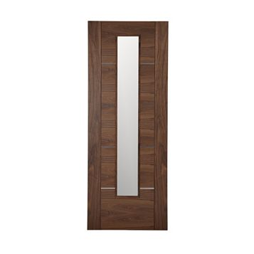 Flush 5 Panel Walnut Veneer Glazed Internal Door, (H)1981mm (W)762mm