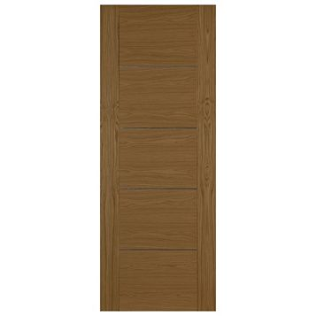 Flush 5 Panel Oak Veneer Internal Door, (H)1981mm (W)838mm