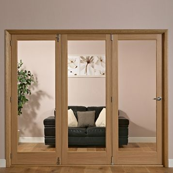 Lockwood 1 Panel 1 Lite Oak Veneer Glazed Internal Folding Door LH, (H)2035mm (W)1918mm