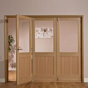 Fontburn 1 Panel 1 Lite Oak Veneer Partially Glazed Internal Folding Door LH, (H)2035mm (W)1918mm