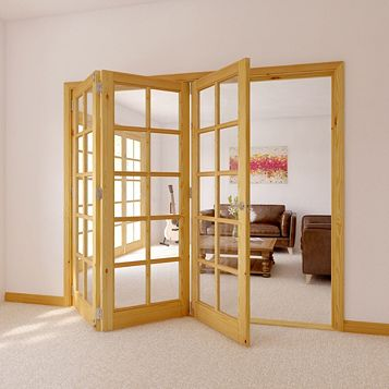 10 Lite Knotty Pine Veneer Glazed Internal Folding Door, (H)2035mm (W)2374mm