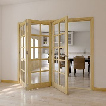 10 Lite Clear Pine Veneer Glazed Internal Folding Door, (H)2035mm (W)2374mm