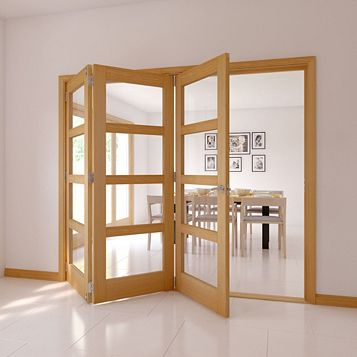 4 Panel 4 Lite Oak Veneer Glazed Internal Folding Door, (H)2035mm (W)2146mm