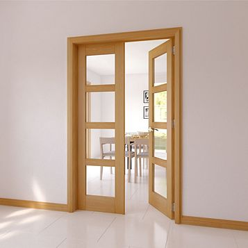 Clear Glazed 4 Panel Shaker Oak Internal French Door Set